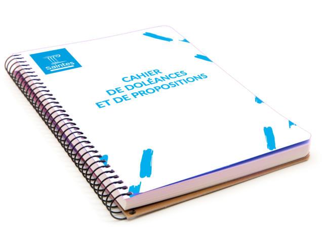 Blue notebook isolated on white background
