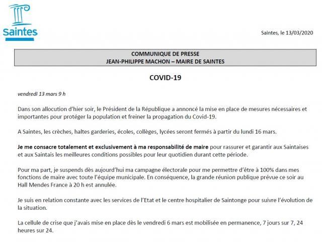 Communiqué Covid 13 03 20