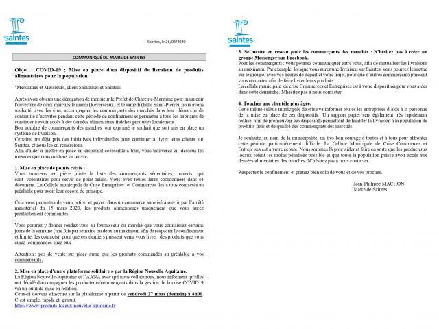Communiqué Covid 26 03 20