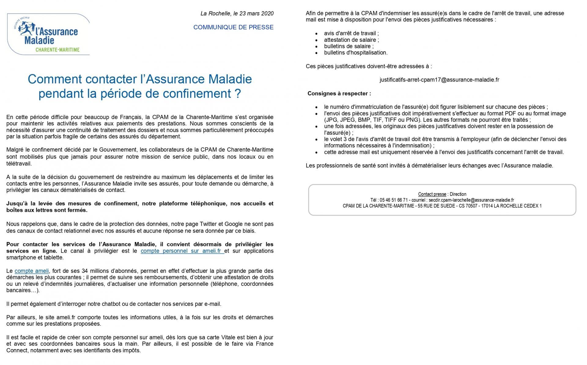 Communiqué De Presse Assurance Maladie CPAM