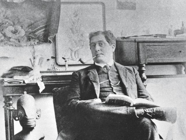 1693584 Guillaume Apollinaire (1880-1918) french writer photographed by Pablo Picasso in 1910 in the workshop studio in Paris by Picasso, Pablo (1881-1973); (add.info.: Guillaume Apollinaire (1880-1918) french writer photographed by Pablo Picasso in 1910 in the workshop studio in Paris); PVDE; PERMISSION REQUIRED FOR NON EDITORIAL USAGE; Spanish, in copyright.PLEASE NOTE: This image is protected by artist's copyright which needs to be cleared by you. If you require assistance in clearing permission we will be pleased to help you. In addition, we work with the owner of the image to clear permission. If you wish to reproduce this image, please inform us so we can clear permission for you.